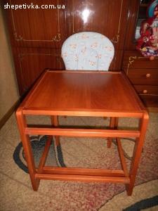 Стульчик, столик для кормления деревянный трансформер. Польш